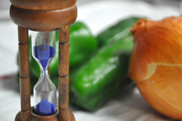 砂時計と野菜