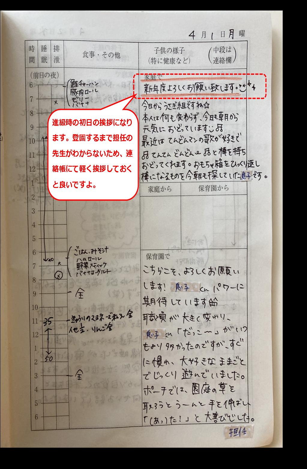 保育園の連絡帳の初日の実例