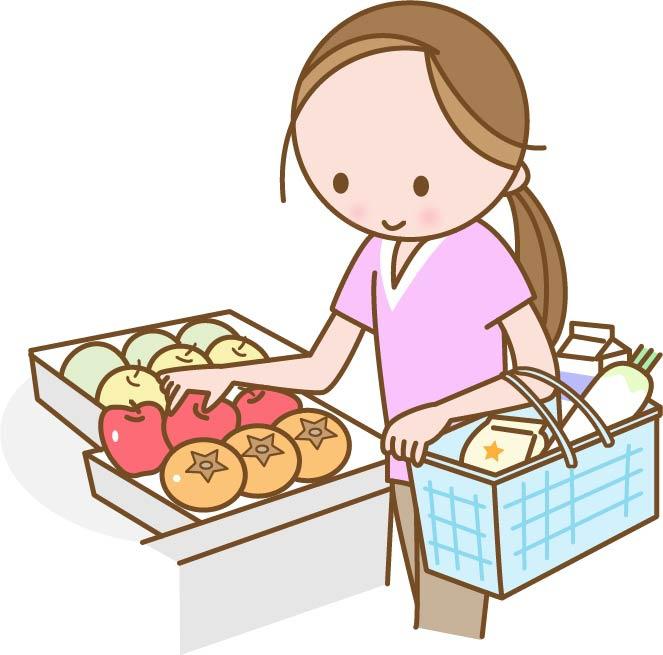スーパーで買い物をするママ