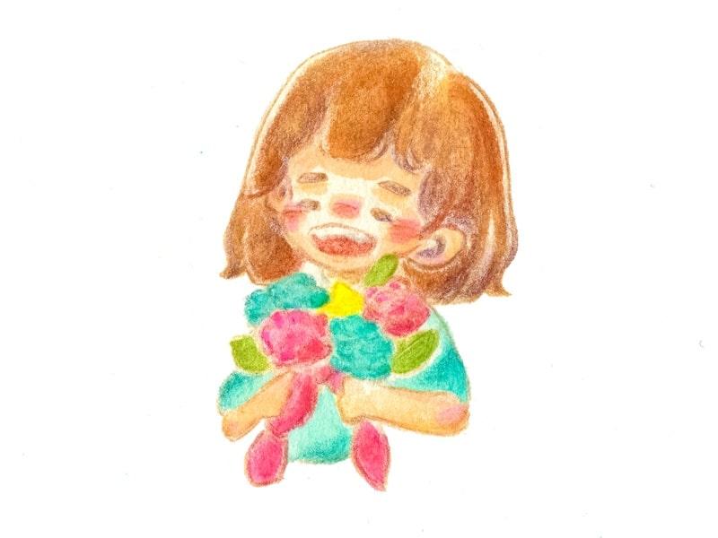 子供が花束を持っている絵