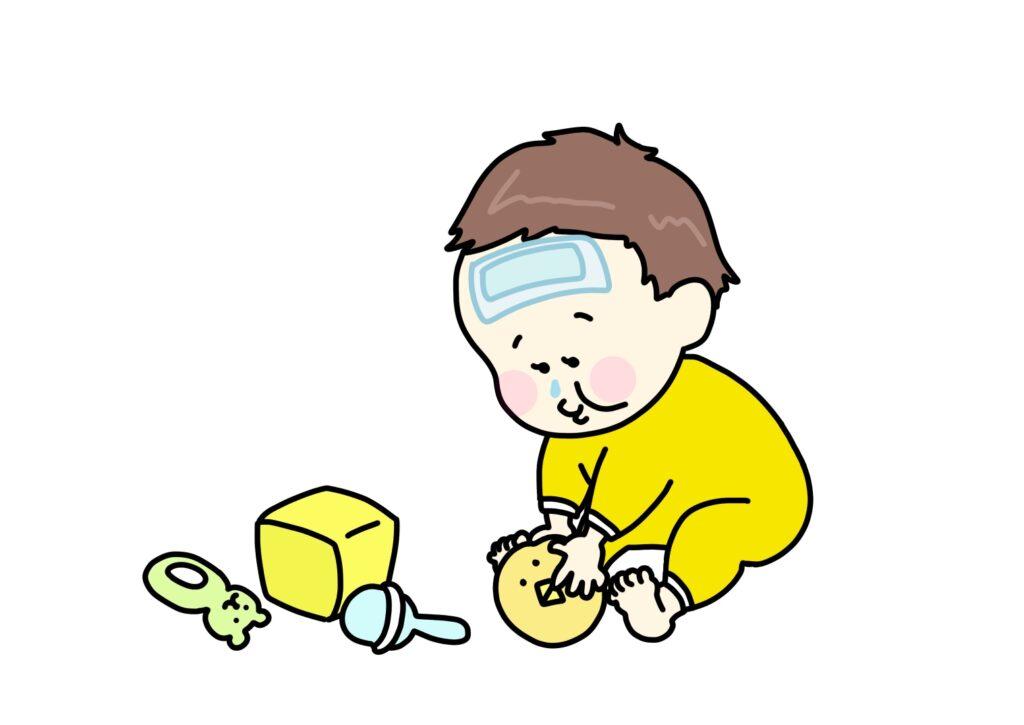 病気の子どものイラスト