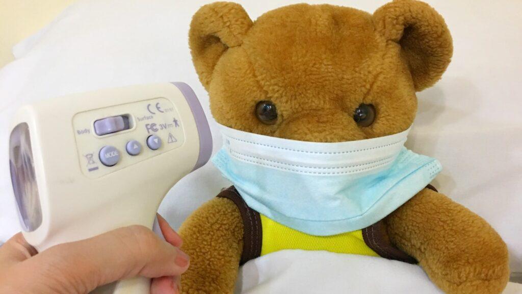 マスクをしたクマと体温計
