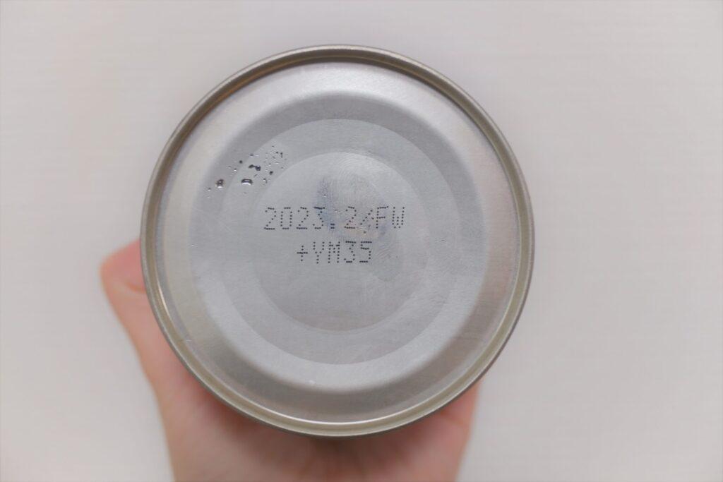 フルーツ缶詰の裏面(賞味期限)